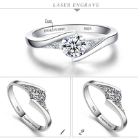 White Gold Plated Wedding Jewelry Real Silver Rings For Women Crystal Engagement Silver Simulation Diamond Ring