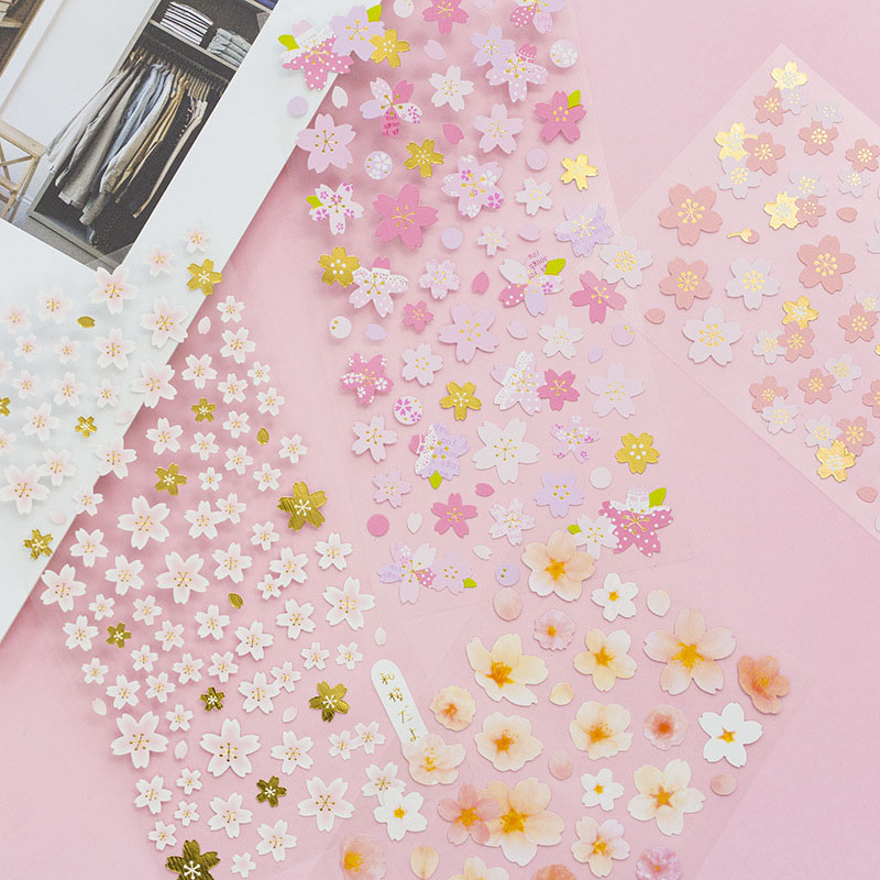 Gold Kawaii Mini Cherry Blossoms Sticker Creative Decorative Diy Scrapbooking For Diary Decoration Stickers Korean Stationery