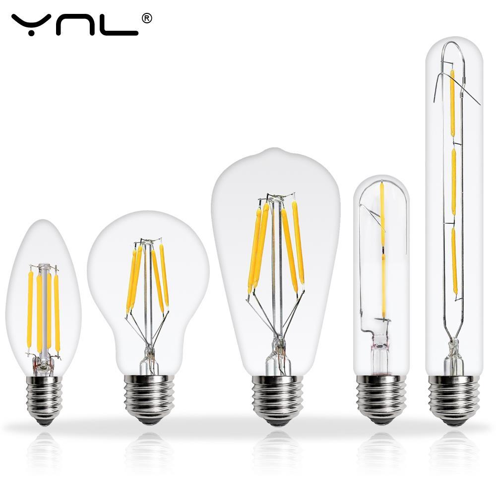 6 unids/lote bombilla LED Edison antiguo E27 E14 220V 2W 4W 6W 8W lámpara LED filamento lámpara Vintage Retro vela de cristal Novedosas Bombillas E27, bombilla LED de 220 V, 4,5 W, 8 W, 220 V, lámpara LED E27 de alta calidad