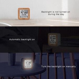 Image 4 - Fanju digital despertador led dcf rádio duplo alarme automático backlight eletrônico temperatura umidade mesa de tempo presente escritório