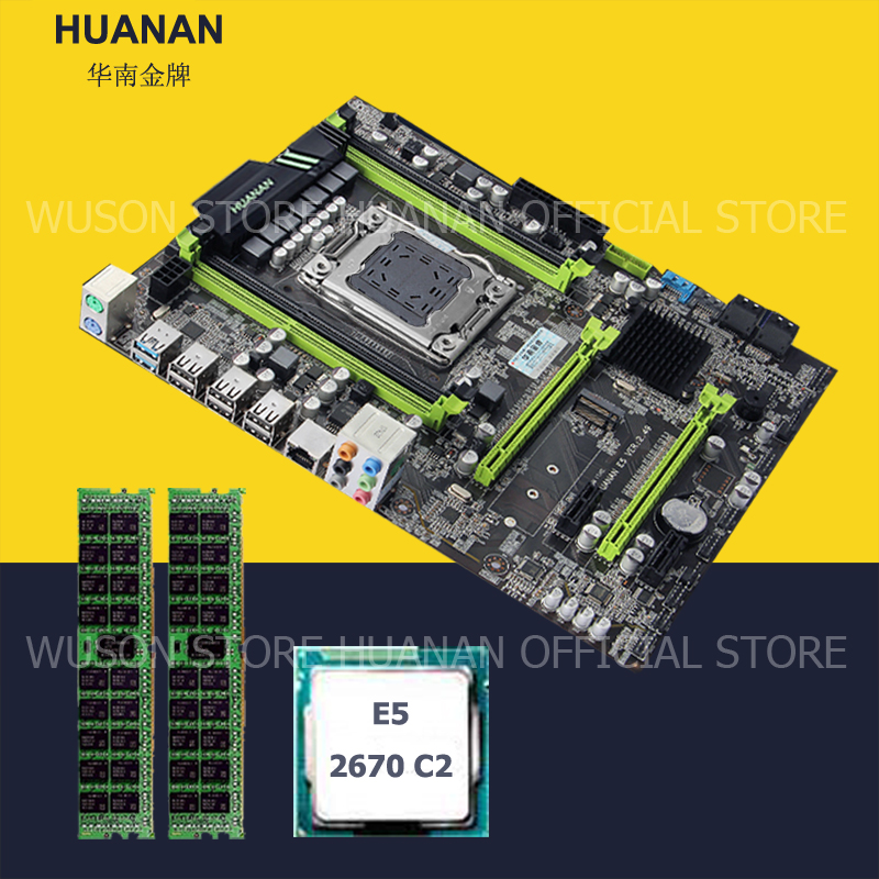 HUANAN ZHI X79 bundle carte mère X79 LGA2011 carte mère avec M.2 slot CPU Intel Xeon E5 2670 C2 SR0KX RAM 16g (2*8g) 1600 RECC