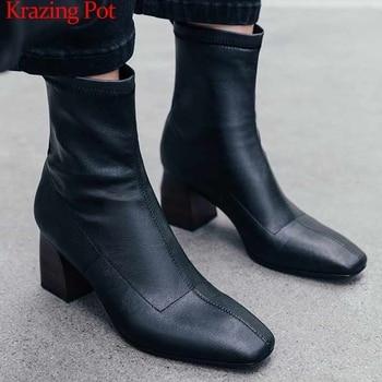 Krazing pot 2019 original design microfiber soft leather high heels square toe handsome leisure modern stretch ankle boots l25