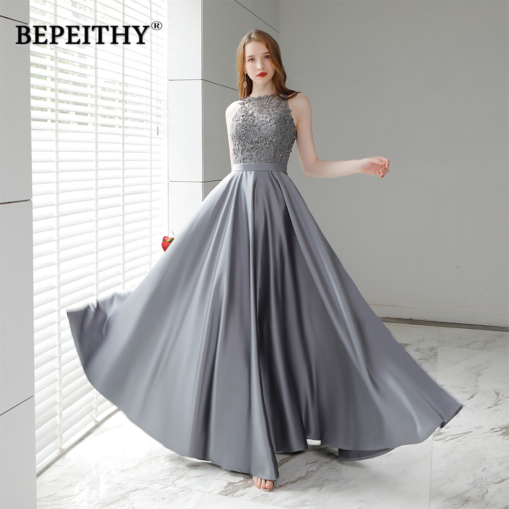 Vestido De Festa Gray Long Evening Dress 2019 O Neck Lace Top Vintage Elegant Prom Party Dresses Abendkleider Hot Sale