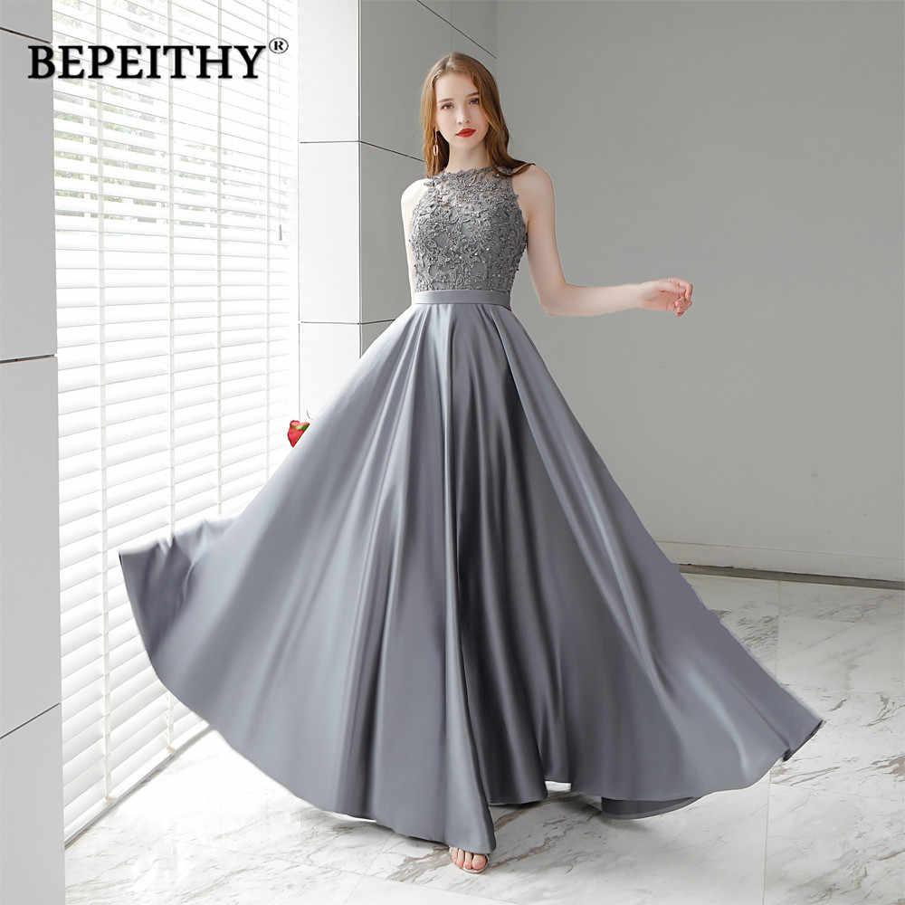 cf55669418b Vestido de festa серый длинное вечернее платье 2019 O средства ухода за  кожей Шеи Кружевной Топ