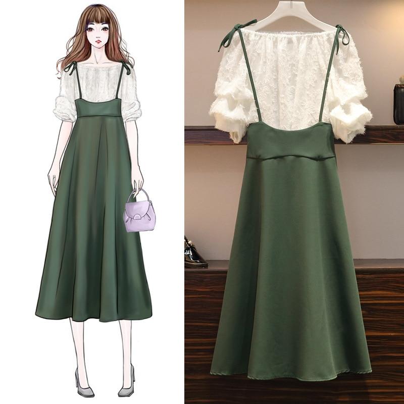 ICHOIX XL-5XL 2 piece set plus size women clothing summer outfits large A-Line skirt cute big For Female