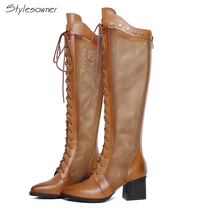 все цены на Stylesowner Genuine Leather Mesh Long Heels Boots Women Laces Botas Mesh See Through Sexy Knee High Long Boots Metal Long Shoes