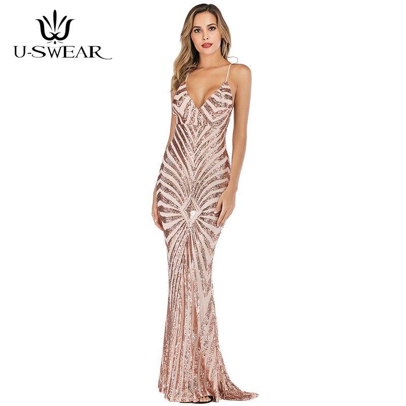 U-SWEAR Long   Dresses     Evening   Golden Sequins Mermaid   Evening     Dresses   Prom Party   Evening   Gown Formal   Dress   Elegant Robe De Soiree