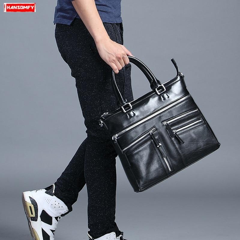 Casual business genuine leather briefcase men's handbags Fashion slung shoulder bag official computer bag male messenger bags