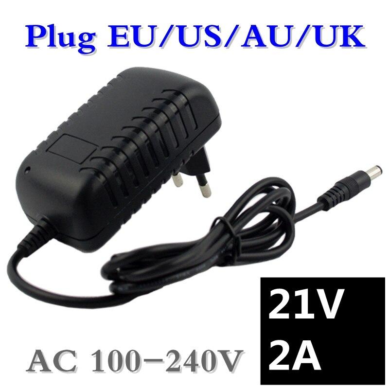 Cargador de batería de litio 21 V 2A destornillador eléctrico 18 V 5 Series 18650 batería de litio cargador de pared DC 5,5*2,1 MM envío gratis