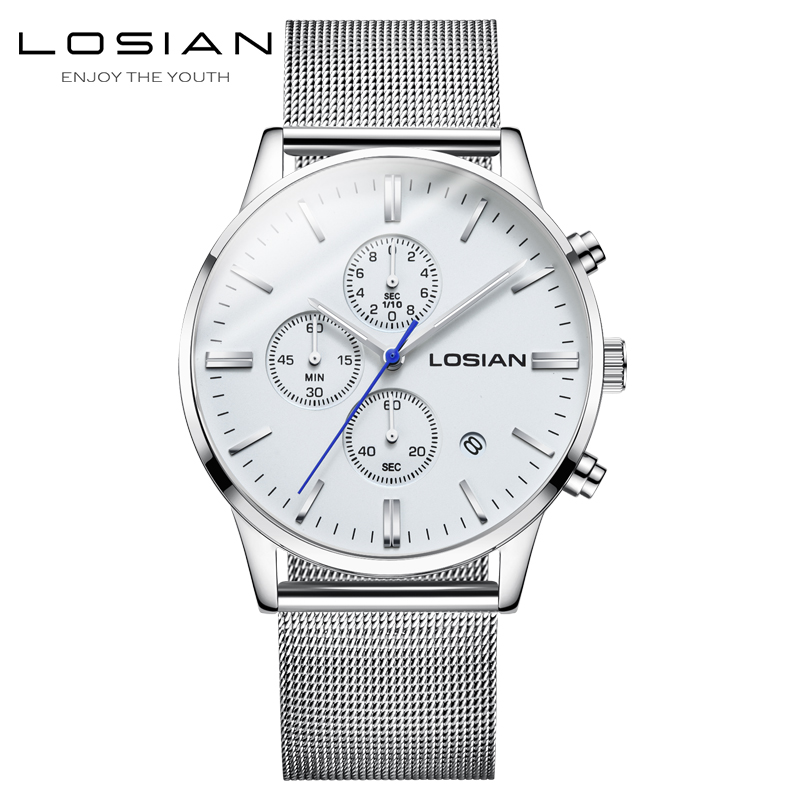 2018 NEW Luxury Men Fashion Watches Men s Quartz Clock Man Water Resistant Chronograph Mesh Wrist