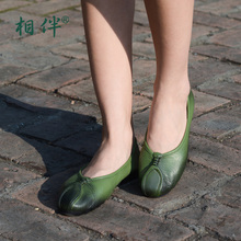 2017 women's flat casual shoes loafers personalized handmade first layer cowhide soft comfortable ladies shoes