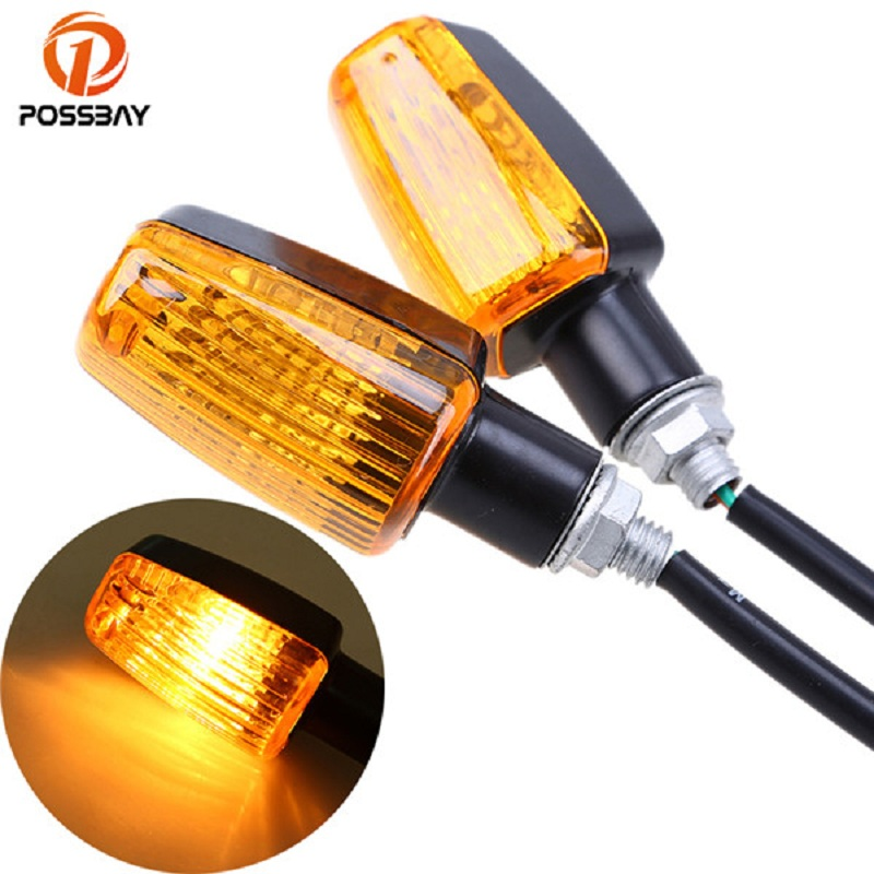 POSSBAY Universal Motorcycle Turn Signals Light For Honda Yamaha Suzuki Harley Kawasaki Indicators Flasher Blinker Signal Lamp