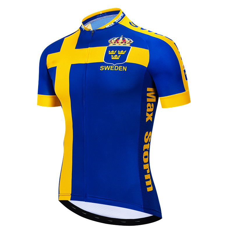 2019 Sweden New Team Cycling Jersey Customized Road Mountain Race Top max storm Reflective zipper 4 pocket2019 Sweden New Team Cycling Jersey Customized Road Mountain Race Top max storm Reflective zipper 4 pocket