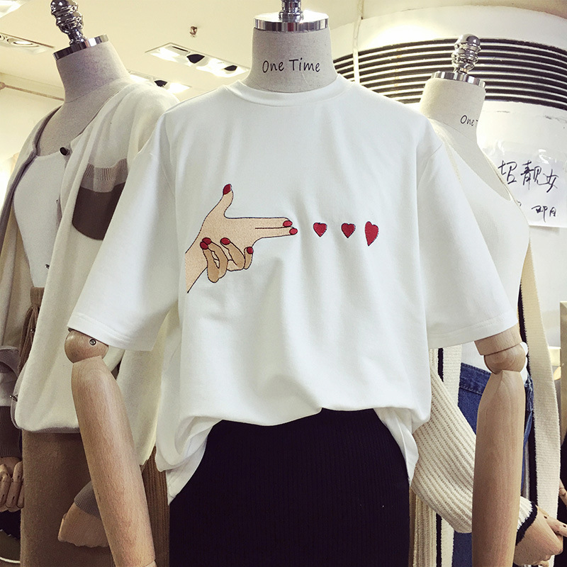 SEMIR White T shirt Woment Brand Summer Tops For women 2018 Harajuku Love Shot Hart Embr ...