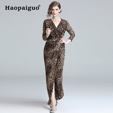 Plus Size Long Split Leopard Dress Women V-neck Sleeve Sheath Corset Sexy Party High Elastic Bodycon Dresses