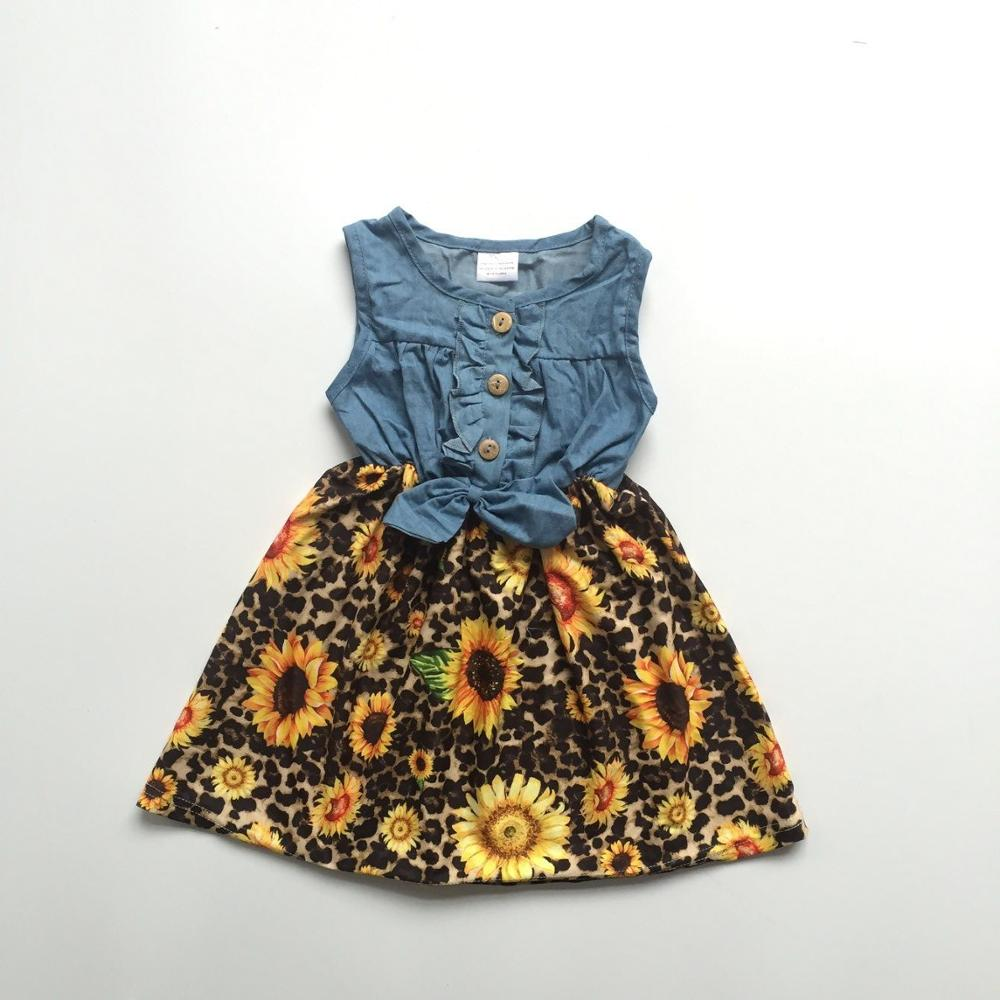 d986061569ccb US $10.5 |baby girls children clothes cotton leopard sunflower zebra mint  Denim Blue ruffle dress boutique summer floral tie knee length-in Dresses  ...