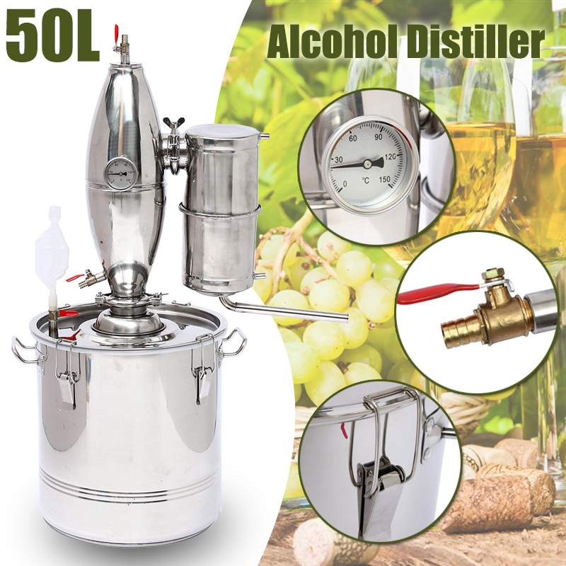 Efficient 50L DIY Home Distiller Moonshine Alcohol Stainless Copper Water Wine Essential Oil Brewing Kit