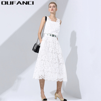 2017 Knee Length New Party Women And Summer Dress Suits Elegant Business Lace Summer Dresses Solid