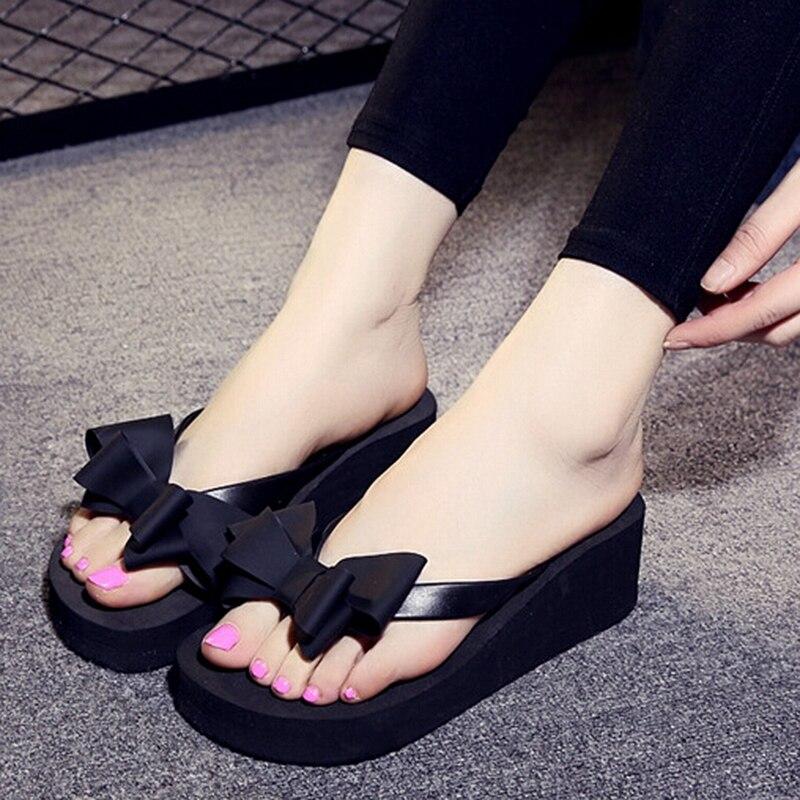 все цены на DCOS Ladies Summer Platform Flip Flops Thong Wedge Beach Slipper Knot Bow Shoes