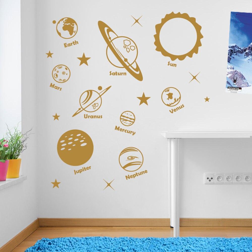 Planets Sun Solar System Space Art Wall Window Sticker Wall Decal Kids Beroom Decor Nontoxic PVC Home Decorative DIY Mural LA905 ...