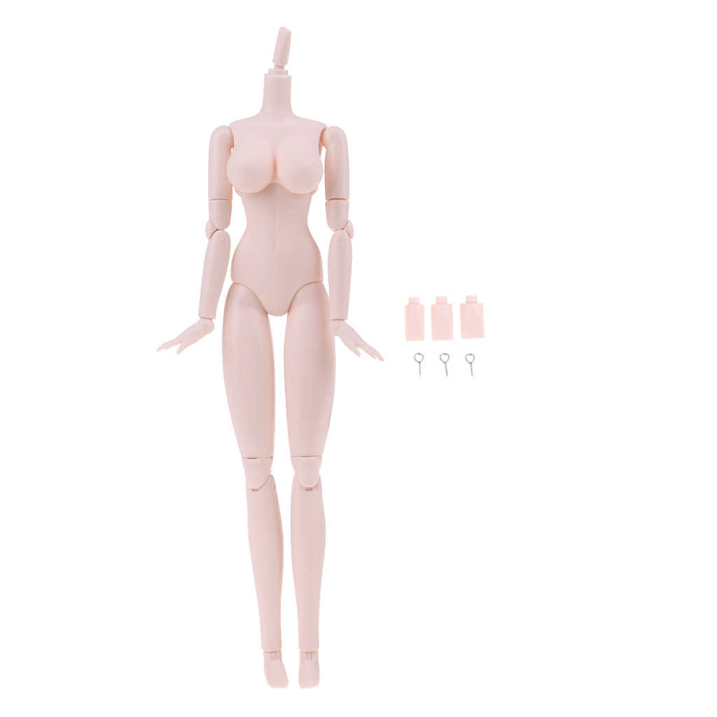 Movable 20 Joints 1/6 Scale Female Body Figures for Obitsu Japanese OB Doll Bust Large Size White