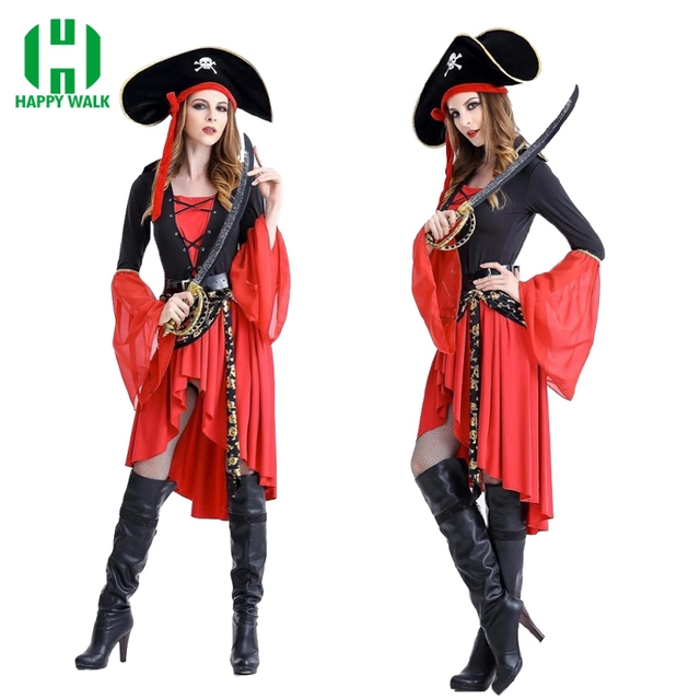 Pirate Costume Women Adult Halloween Carnival Costumes Fantasia Fancy Dress  Caribbean Pirates Cosplay Costume 242bcd384240