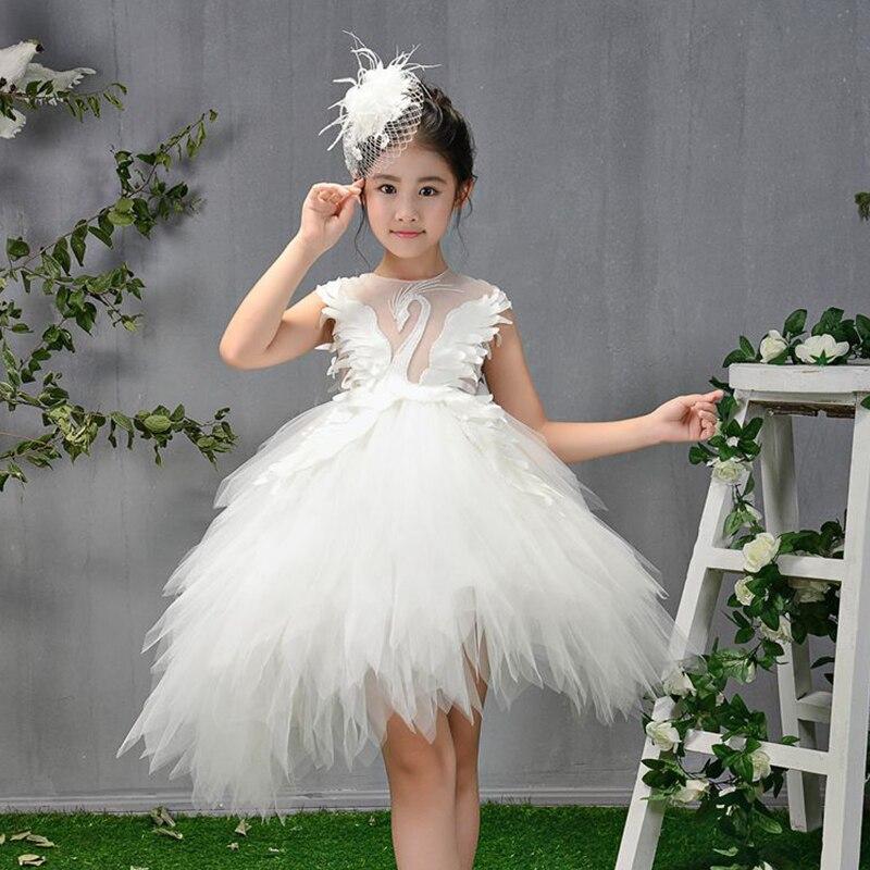 White Swan Feather Holy Communion Dress for Girls Gorgeous Princess Dress Birthday Ball Gown Flower Girl Dresses for Wedding K47 цена