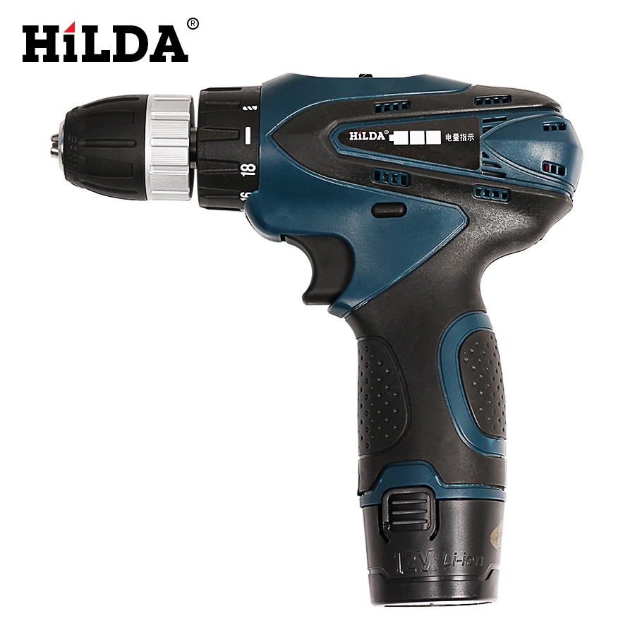 купить HILDA 12V Electric Screwdriver Rechargeable Lithium Double Speed Battery Cordless Multi-function Power Tools Electric Drill недорого