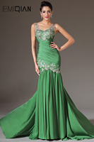 Freeshipping V Neck Floor Length Long Evening Gowns Evening Dresses with Silver Embroidery