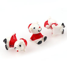 10Pcs 13x18mm 3D Mixed Christmas bear Resin mini garden decorative Miniature Figurine Crafts decorations for home DIY Accessorie(China)