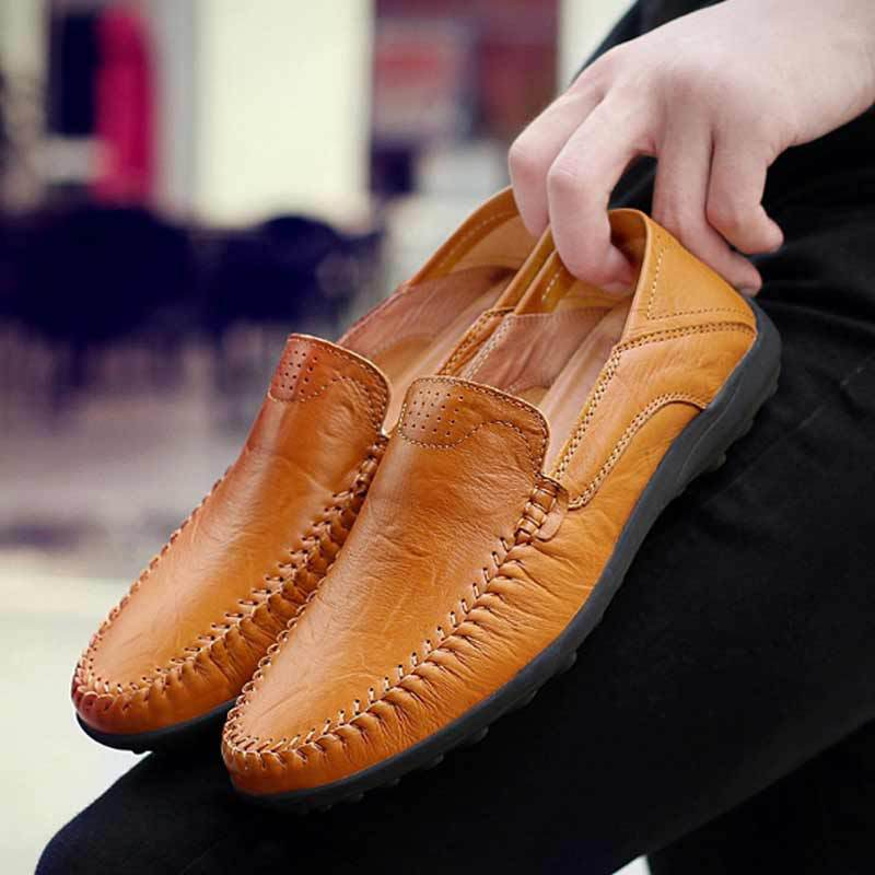 Men/'s Casual Moccasins Leather Lazy Driving Loafers Shoes Slip On Big Size