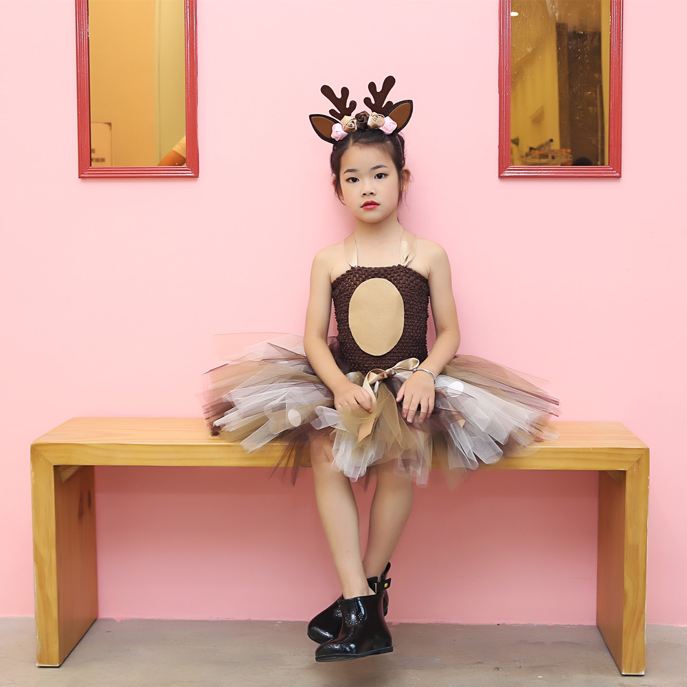Girls Reindeer Dress Up Costumes Children O-neck Pattern Solid Dress Christmas Birthday Party Kids Dresses for Girls Ball Gown (15)