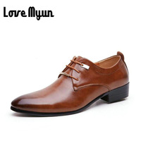 Hot Sell Mens Leather Shoes Men S Dress Shoes British Style Lace Up Pointed Toe Low