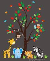 Safari Animals Nature Removable Reusable Wall Decals Kids Nursery Art 84 x 109
