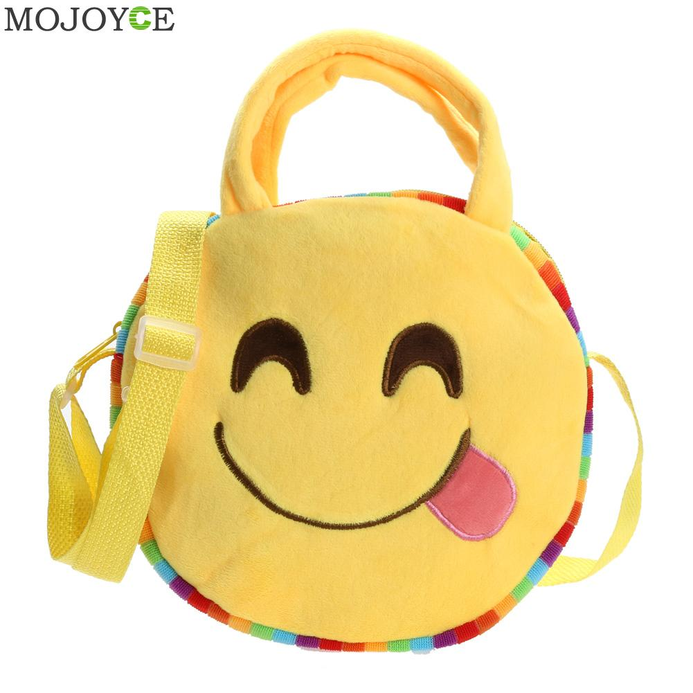 Fashion Emoji Face Expression Plush Toy Children Round Bag School Bag Kid Plush Baby Children School Bags Bolsa