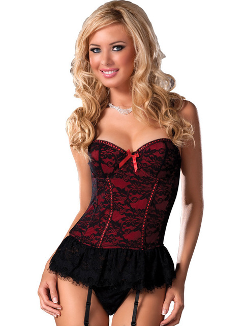 6f9f54cca3 Model 2220 red Meryl+lace Sexy Corset Women Bustiers   Corsets Corset+G  string+Suspenders 3-piece Pary dance club wear
