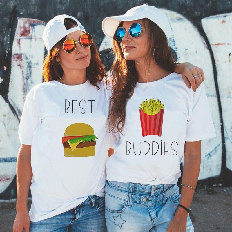 Bff Burger And Fries Best Friend Female T-shirt Harajuku Kawaii Paired T-shirts New Arrival 2019 Tumblr Tshirt Streetwear Top