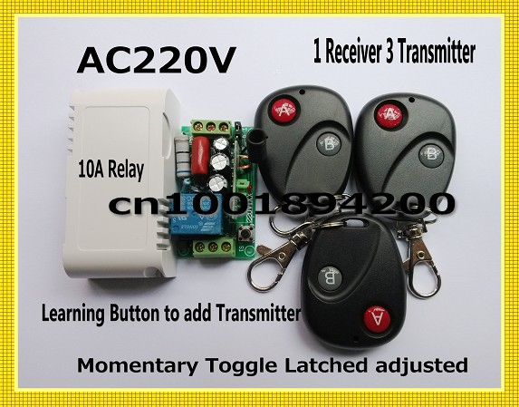 Radio Remote Control Switches AC220V Lighting Control Power Switch 1Receiver 3Transmitter A ON B OFF Learning Code 315/433MHZ remote control switch led light lamp remote on off system ac85v ac260v 100v 110v 240v 230v 127v learning code receiver 315 433