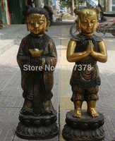 Shitou 00614 30 China de Bronce Chino Gild Soporte Riqueza Zi Tong Boy Girl Estatua Escultura