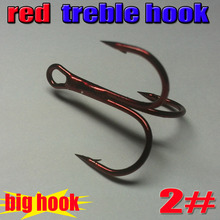 2015new fishing treble hooks color is red size 2# the big hooks 80pcs/lot  high carbon steel