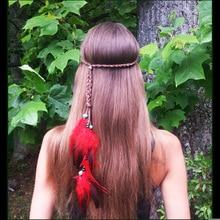 AWAYTR Fashion Boho Style Feather Headband Hairpiece Beads Feather Headdress Handmade Girls Hair Accessories High Quality недорого