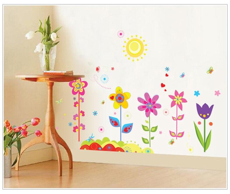 Diseño de la flor de dibujos animados extraíble zócalo línea etiqueta de la pare