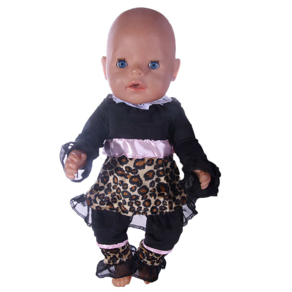 New style popular Leopard suit clothes For 18inch American girl doll/43cm New Baby Born Zapf for Chrid Christmas Gift