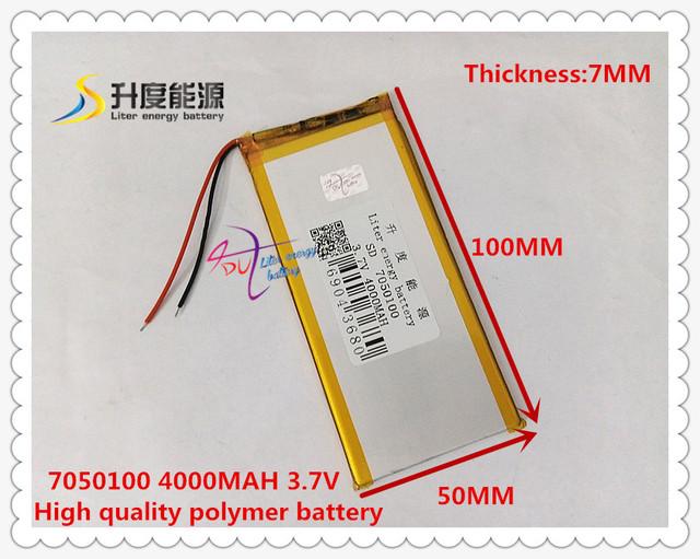 3.7 V 4000 mAH 7050100 (polímero de íon de lítio/bateria de Iões de lítio) para tablet pc banco do poder orador telefone celular GPS MP4