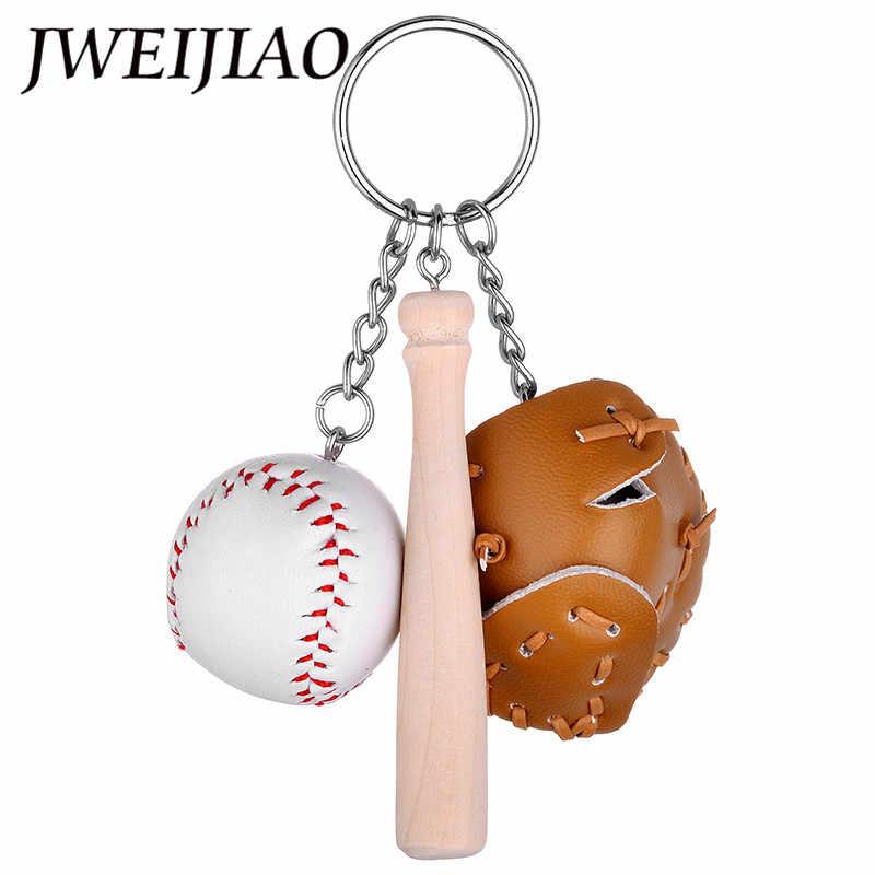 LLavero de béisbol de simulación DIY JWEIJIAO hebillas de llaves de cuero suave encantos de béisbol llaveros para aficionados regalos recuerdos deportivos YY2011