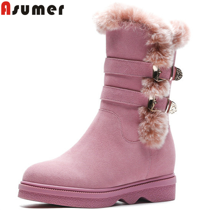 ASUMER 2018 hot sale new mid calf boots women round toe suede leather boots fur casual comfortable winter keep warm snow boots beango fashions snow boots women s winter fur rubber genuine leather lace up flats round toe mid calf new comfort warm boots