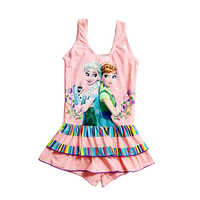Children Swimsuit Cosplay Elsa Anna Print Swim Skirt Kids Bathing Suit Girl Swim wear One-Piece Swimwear Dress Teen Swimsuit