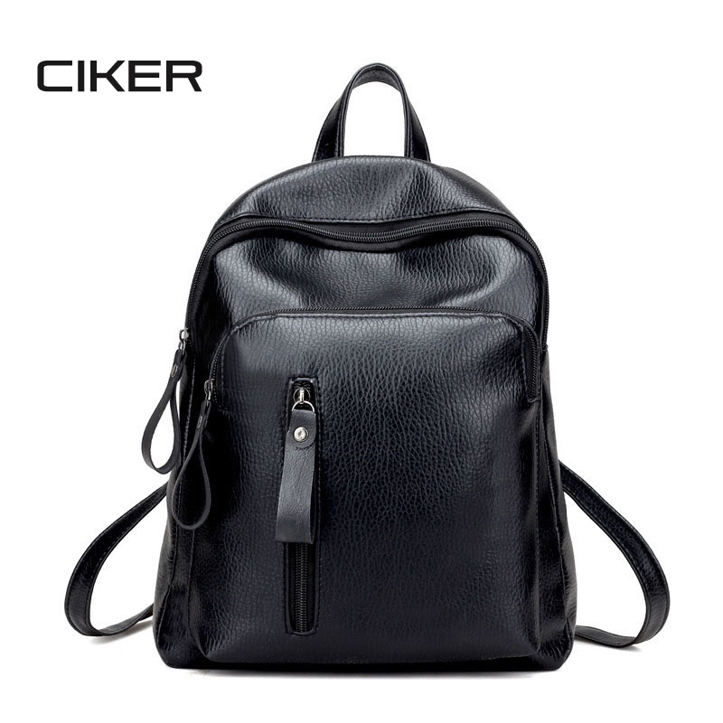 CIKER Casual Women Leather Backpack Litchi Pattern Package Daily Backbag Solid Shoulder Travel Bags For Teenage Grils Mochila