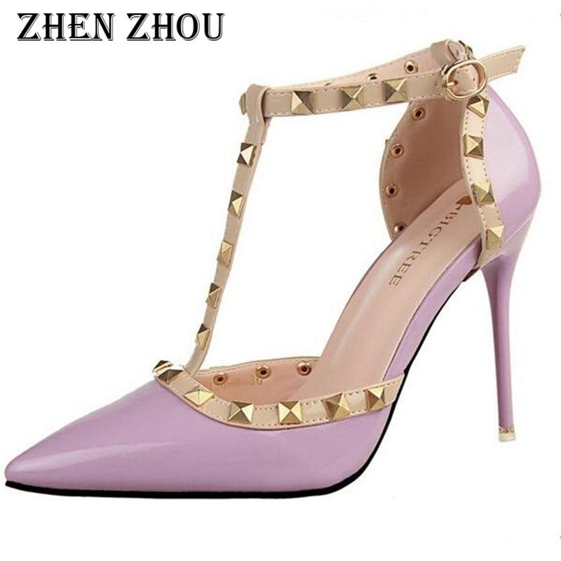 Escarpins Femme 2018 Pumps  Thin Heels Buckle Strap Female Rivet Metal Decoration Pu South Korean Swomen Office Shoes Women