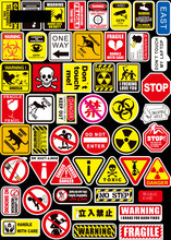 50 Pcs Dangerous Prohibition Warning Sign PVC Waterproof Sticker For Sateboard Laptop Luggage Bicycle Car Toys Decal Stickers